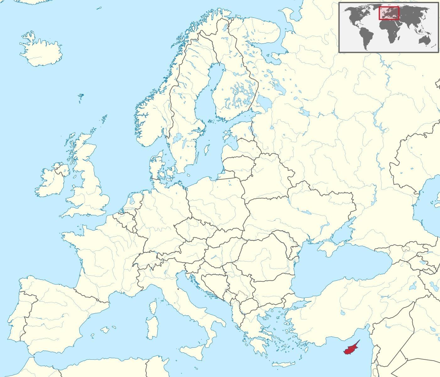 Cipru Localizare Pe Harta Lumii World Map Arată Cipru Europa De